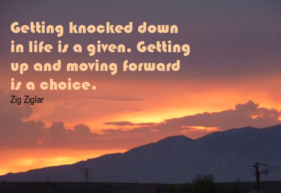 Getting Knocked down is a given, Getting up again is a Choice - Zig